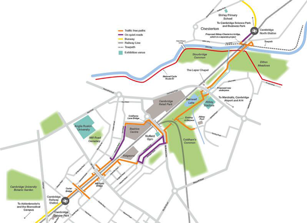 A stylised map showing the proposed Chisholm Trail route; from Cambridge North Station, across the new Bridge at Ditton Meadows and on to a new underpass at Newmarket Rd, across Coldhams Common, then down to Cambridge Railway Station