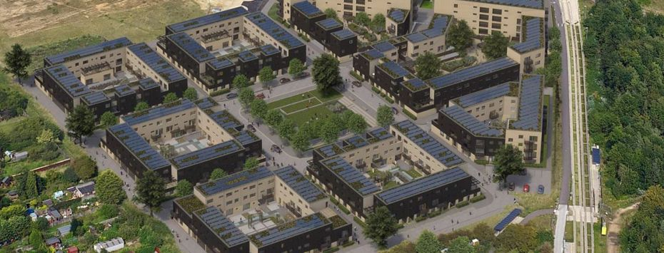 An artist's impression of a large new development, showing multiple large blocks of apartments surrounding a green shared space that is equal in size to one of the blocks. The blocks each have a communal courtyard area, with planting and utility space.